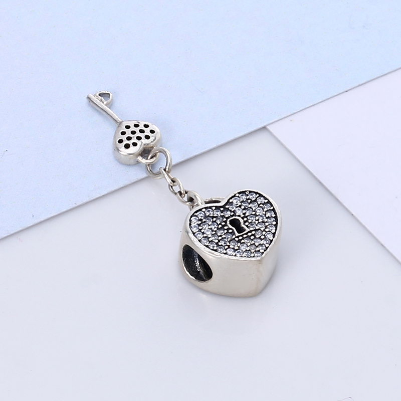 100% Authentic 925 Sterling Silver Heart Lock Charm Beads Fit Pandora Charm Bracelet DIY Original Silver Jewelry Making