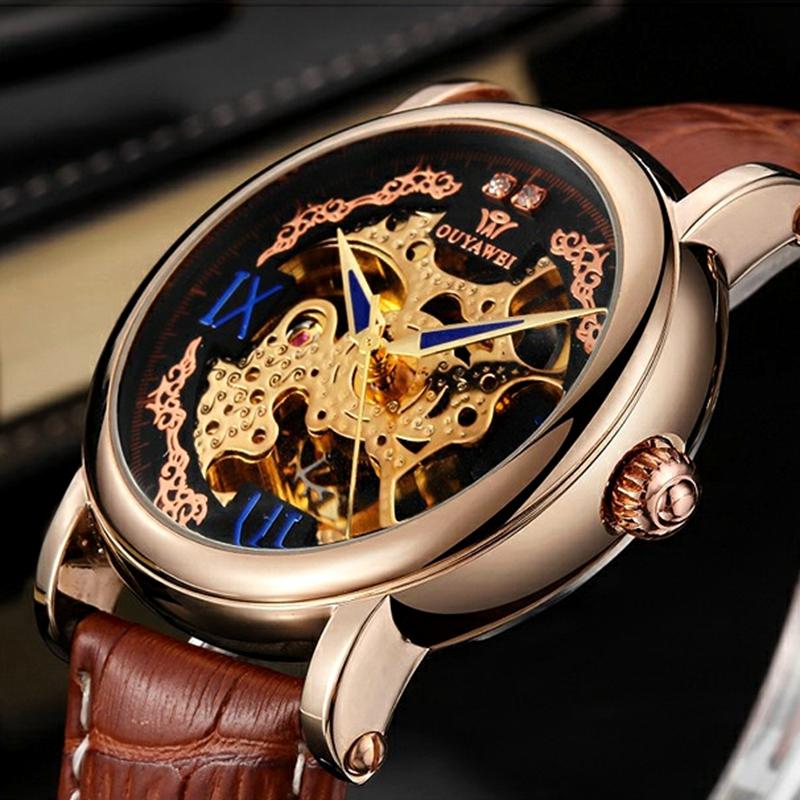 Prix pour 2016 OUYAWEI Marque Homme Mécanique Automatique Montres Bracelet En Cuir 30 M Plongée De Luxe Mâle Or noir Montres relogio masculino