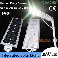 Водонепроницаемый 25 Вт светодио дный солнечное освещение сада, солнечный Сенсор свет, 50 Вт Панели Солнечные с 21AH Батарея интегрированный, с