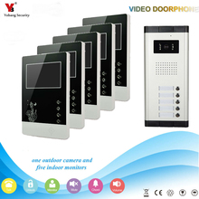 Yobang Security  4.3 inch Apartments of 5 Units Kit Video Door Phone Video Intercom Entrance Doorbell phone Night Vision camera