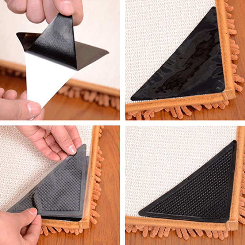 Washable Carpet Mat Anti-skid Pad Reusable 4pcs Rug Home Supplies Silicone Triangle Shape