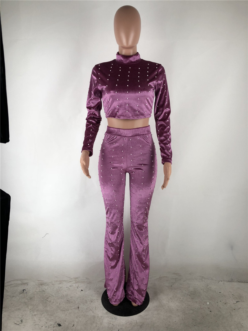 2018 Winter Velvet Suit Women 2 Piece Set Long Sleeve Pearl Decoration Crop Top Pant Set Casual Club Outfits Ladies Suits in Women 39 s Sets from Women 39 s Clothing