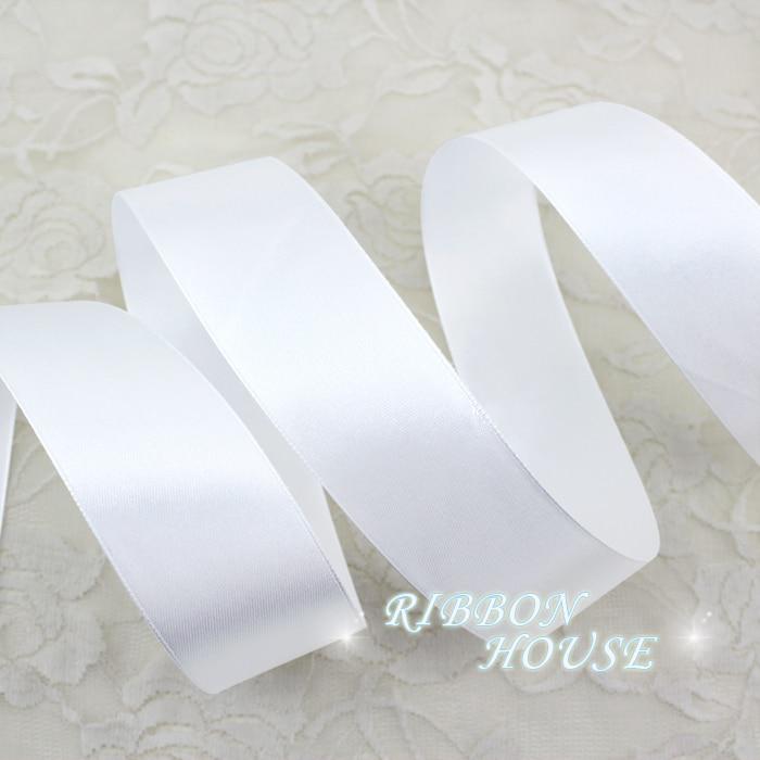 (25 ярдов/рулон) 1,5 «мм 40 мм белая тесьма украшения ленты один уход за кожей лица сатиновая подарочная лента Рождество ленты