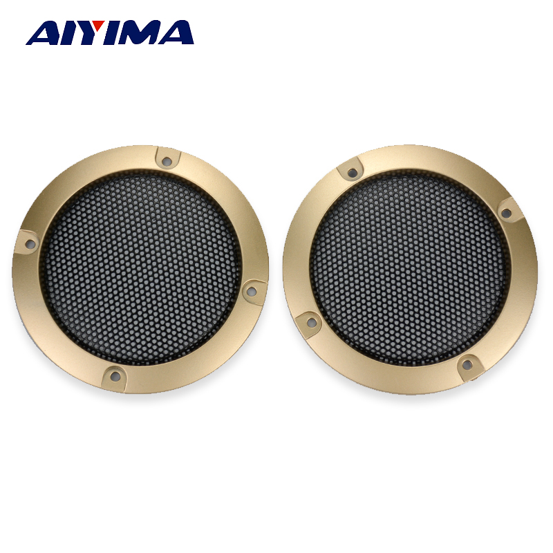 Aiyima 2PC 3Inch Speaker Net Cover Mesh Enclosure Decorative Ring Glod Color Protective Grille Subwoofer Speaker Cover