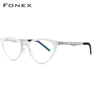 Image 3 - FONEX asetat gözlük çerçeve kadınlar kedi göz reçete gözlük miyopi optik çerçeve Cateye gözlük vidasız gözlük 618