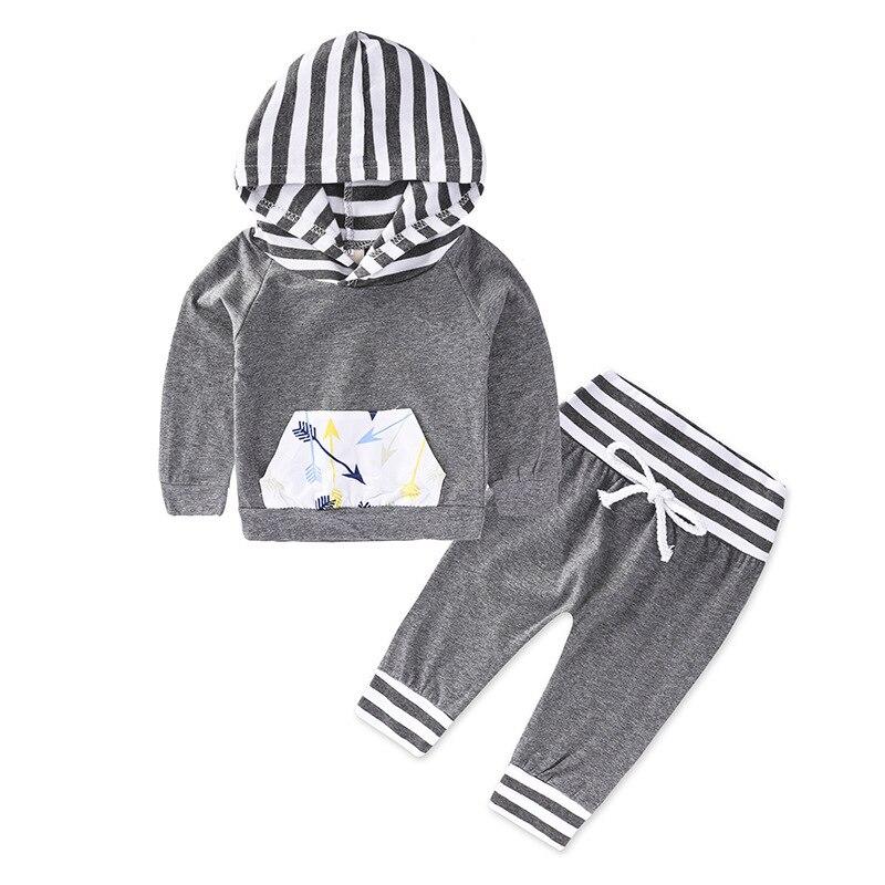 2 pcs Hot Sale Baby Infant Clothing Sets Boys grey Hooded + Long Pants boy sport active Pcs Set