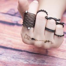 NEW 6PCS/SET Female Rhinestones Ring Set Arrows Beard Women Anillos Punk Vintage Retro Finger Knuckle Midi Rings Party Jewellery(China)