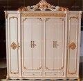 Шестидверный шкаф антикварный Белый Европейский цельный шкаф французская сельская мебель 04