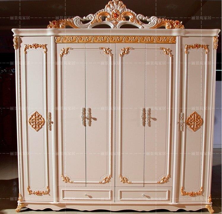 Armoire à six portes Antique blanc européen armoire entière meubles ruraux français 04