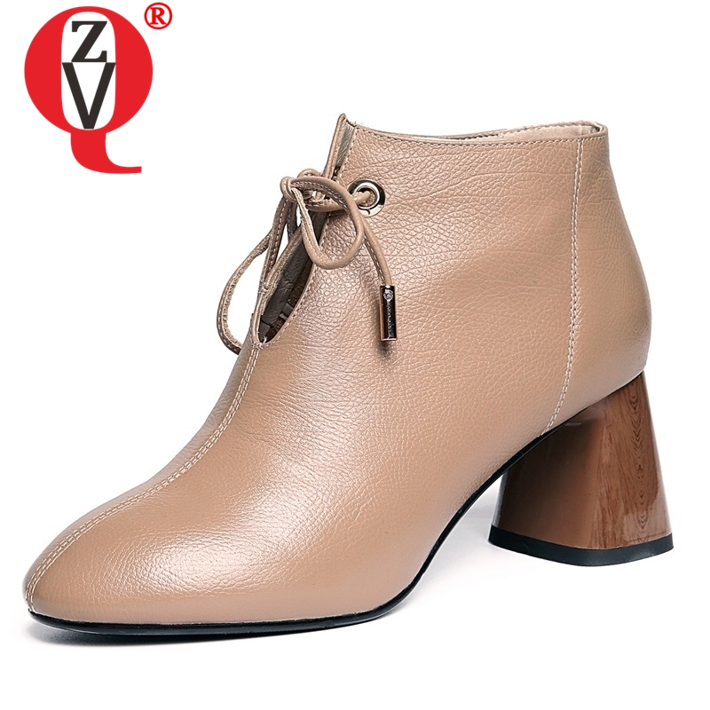ZVQ women boots 2019 newest hot sale handmade genuine leather shoes round toe high square heels lace-up winter plush ankle boots