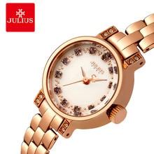 JULIUS 2017 Brand Lady Watches Women Luxury Bracelet Watches Crystal Diamond Ultra Slim Rose Gold Hour Clock JA-883