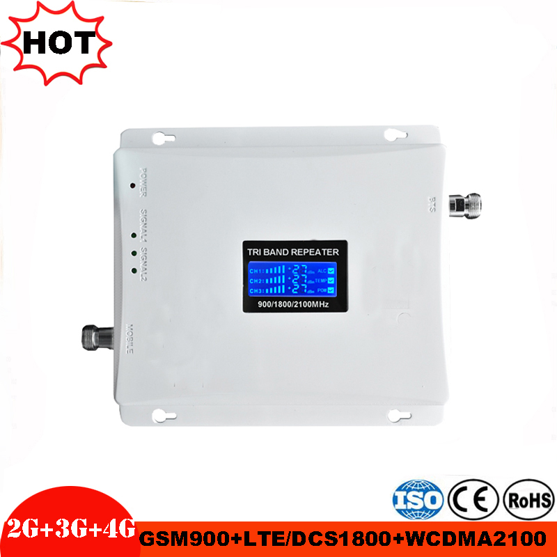 Cellular Signal Amplifier GSM 900MHz LTE 1800MHz UMTS 2100MHz 2G 3G 4G Tri Band Repeater Mobile