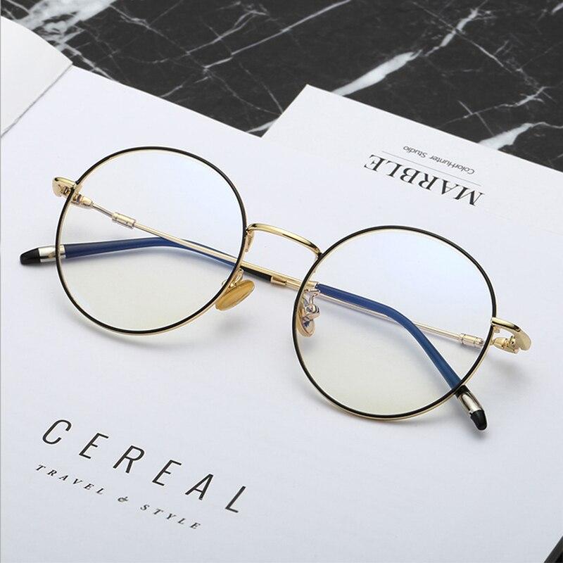 8944f9954dca Mincl Ultra light metal Blue Light Blocking Glass retro round computer glasses  UV protection goggles