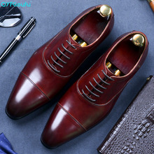 Italian Brand Genuine Leather Business Dress Shoes Men Retro Lace-up Cow Oxford For Flat