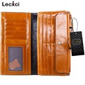 Lecxci Women's Large Capacity Oil wax cowhide Leather Purse Genuine Leather Wallet With Zipper Pocket Card Holder Ladies Purse