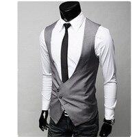 New Arrival Deep V neck Men formal Vest Slim Vests Men's Fitness Leisure Waistcoat Casual Business Jacket Tops Three Buttons