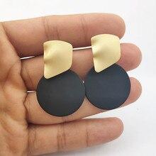 2019 Round Spray Paint Pendant Earrings Irregular Metal Geometric Gold for Women Jewelry P675-P681