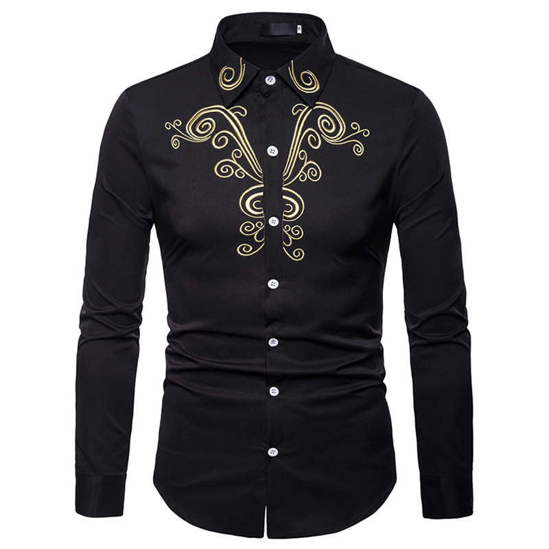 Luxury Gold Embroidery Shirt Men 2018 Brand New Slim Fit Long Sleeve Chemise Homme Casual Button Down Dress Shirts Male Camisas