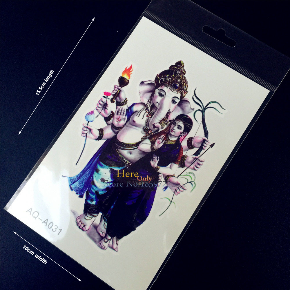 New 1PC Disposable Waterproof Arm Tattoos Elephant Ganesha God Buddha Indian Women Design Flash Temporary Tattoo