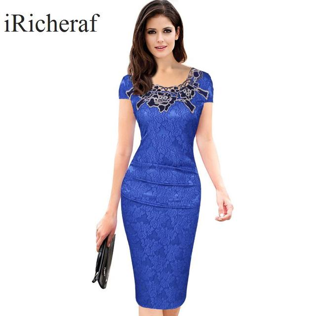 c9f3bc23d2d Women Embroidered Dresses O-neck Short Sleeve Pencil Bodycon Evening Party  Dress Knee-length