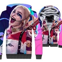 2019 new arrival Batman Harley Quinn jackets thick zip wool liner warm coats clown girl funny 3D prints hoody men plus tracksuit