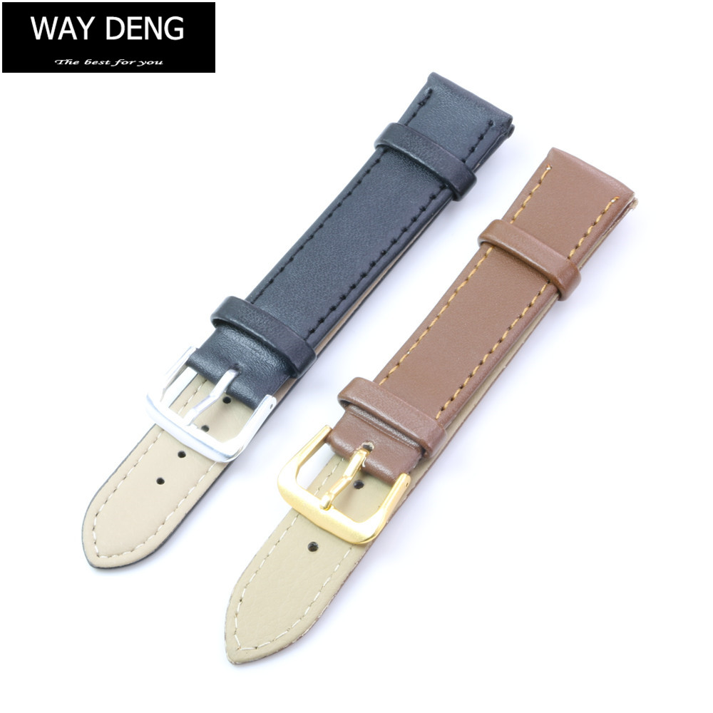 Way Deng - Women Men Vintage Soft Plain PU Leather Watch Band Watchbands Two-piece Strap Accessories Many Sizes - Y038