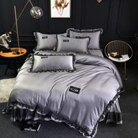 Famvotar Luxury 4 Pieces Silky Satin Bedding Set Chic Solid Color Ruffle Bedding Set Queen King Size Summer Bedding Set Dropship