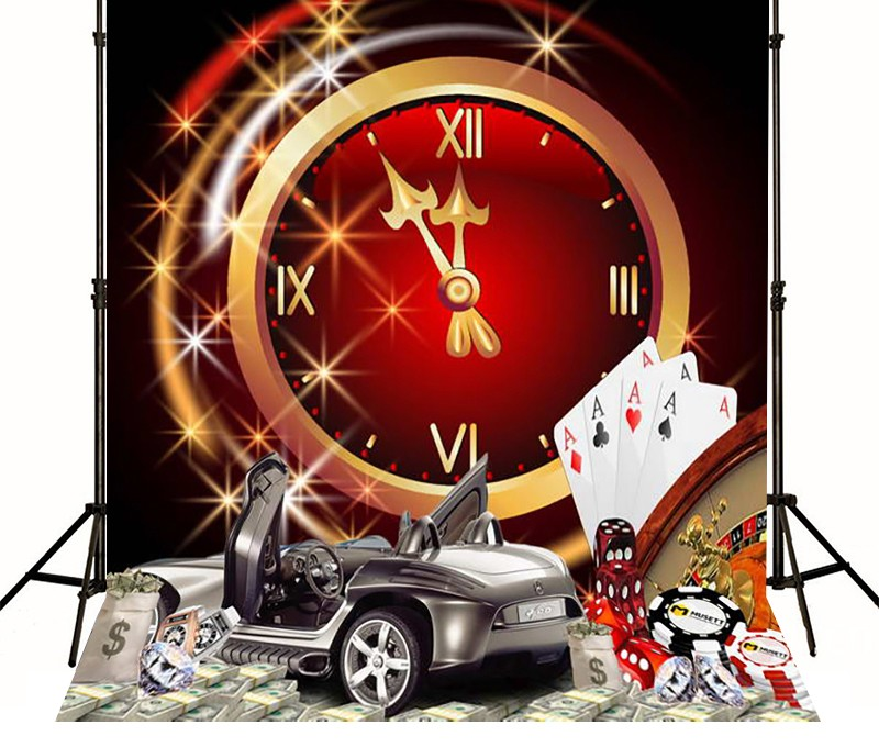 Las Vegas Casino Poker Clock backdrop Vinyl cloth Computer printed children Backgrounds 03 vegas