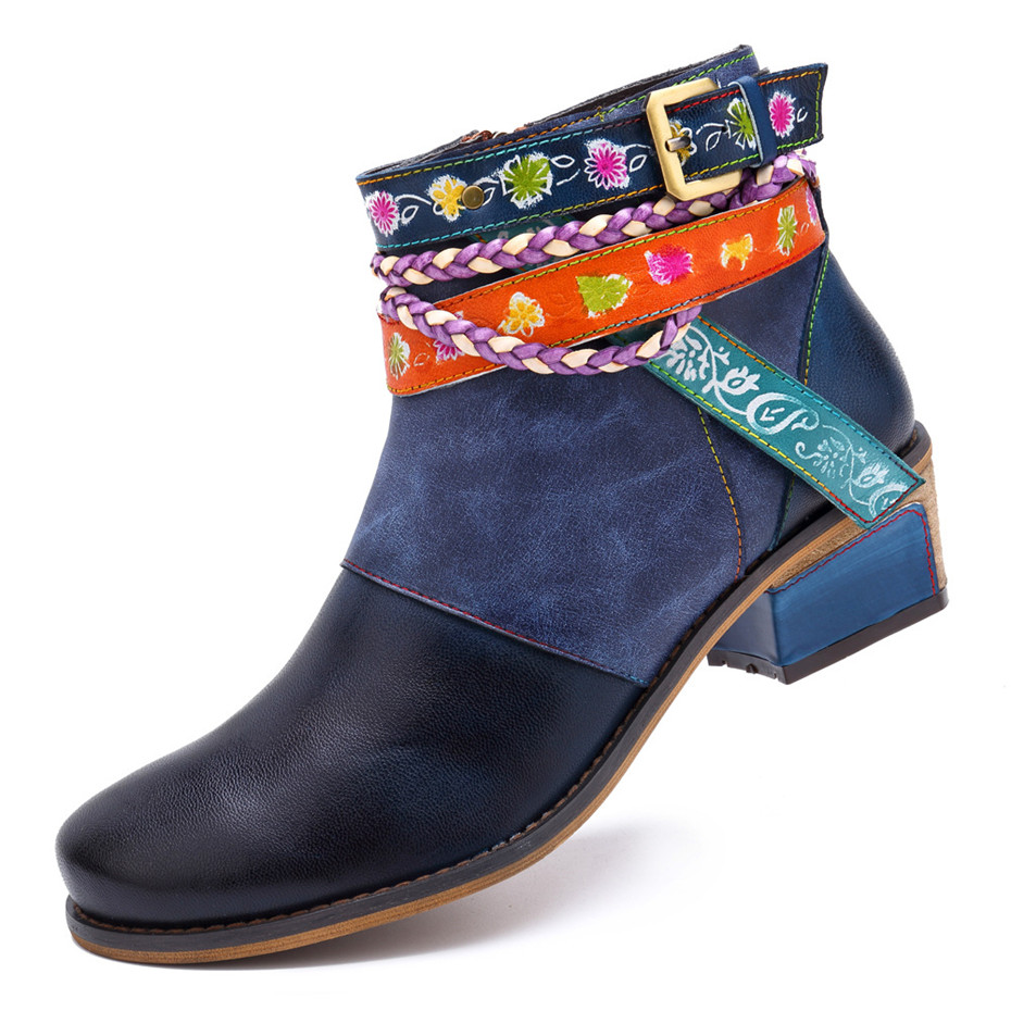 Vintage Bohemian Women Ankle Boots Shoes Side Zip Med Heels Ladies Shoes  Booties Genuine Leather Short Boots Shoe Woman (1)