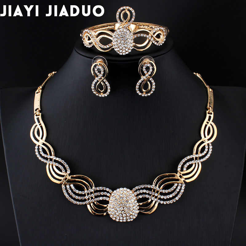 Jiayi Jiaduo New African Bridal Jewelry Sets for Fashion Women Gold-color Crystal Necklace Earrings Sets Wedding Assignment Gift