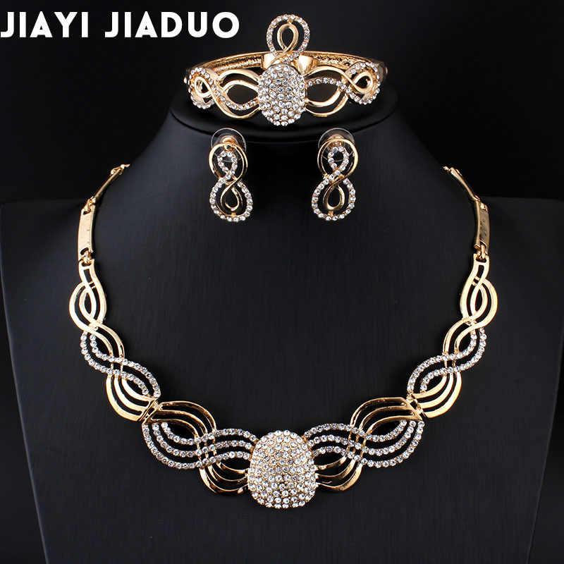 Jiayi Jiaduo חדש אפריקאי כלה תכשיטי סטים עבור אופנה נשים זהב-צבע קריסטל שרשרת עגילי סטי חתונה הקצאת מתנה