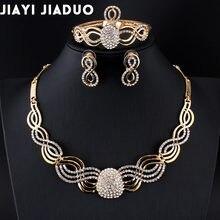 Jiayi Jiaduo-ensemble de bijoux de mariée africaine pour femmes, ensemble de boucles d'oreilles collier en cristal couleur or, cadeau d'affectation de mariage