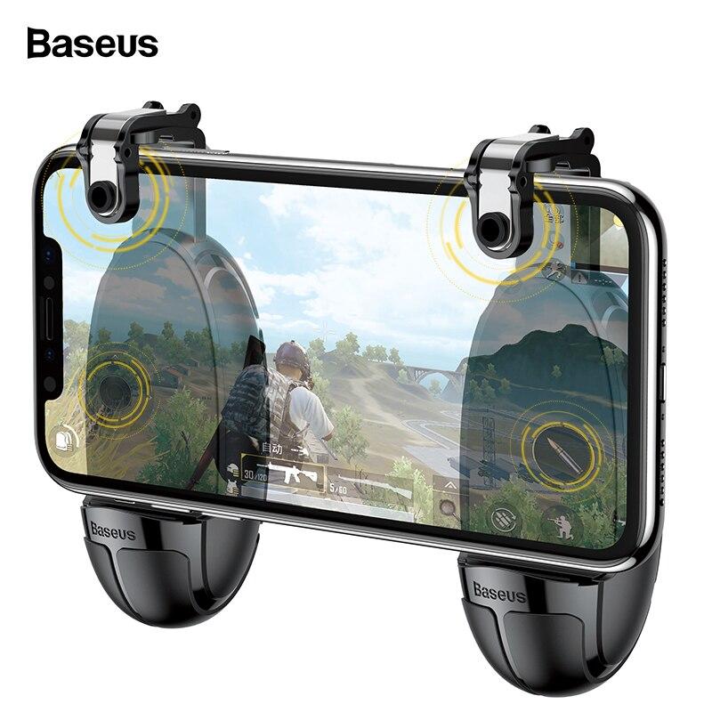 Baseus joystick Joypad para PUBG juego móvil disparador botón Gamepad para iPhone Xiaomi teléfono Android L1R1 Shooter controlador