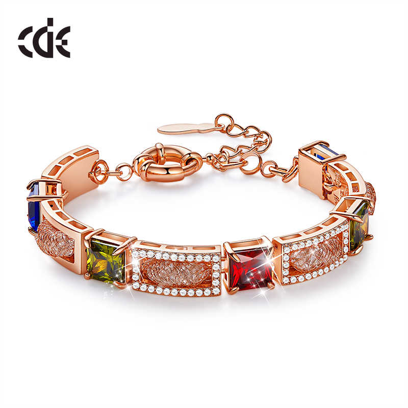 CDE Women Gold Bracelet Bangle Cubic Zirconia Bracelet Link Chain Bangle Shinning Geometric Bracelets Rose Gold Jewelry