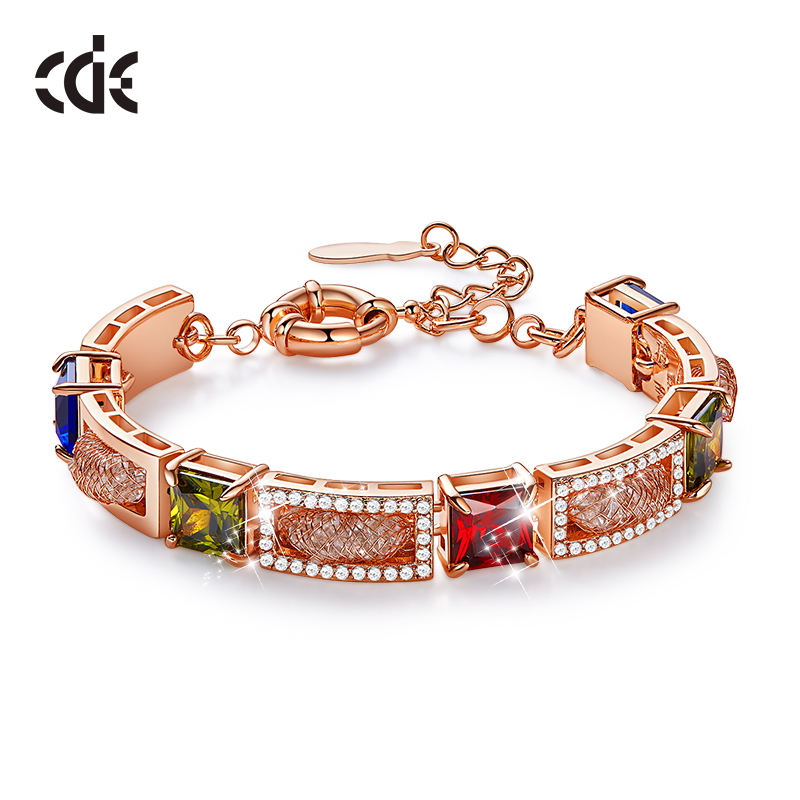 CDE Fashion Luxury Colorful Zircon Bangle Bracelet with Rhinestone Rose Gold Color Link Chain Bracelet for Women Jewelry Gifts
