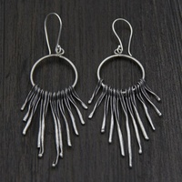 925 Sterling Silver Ethnic Earrings Ethnic Dangle Drop Twisted tassels Retro Earrings