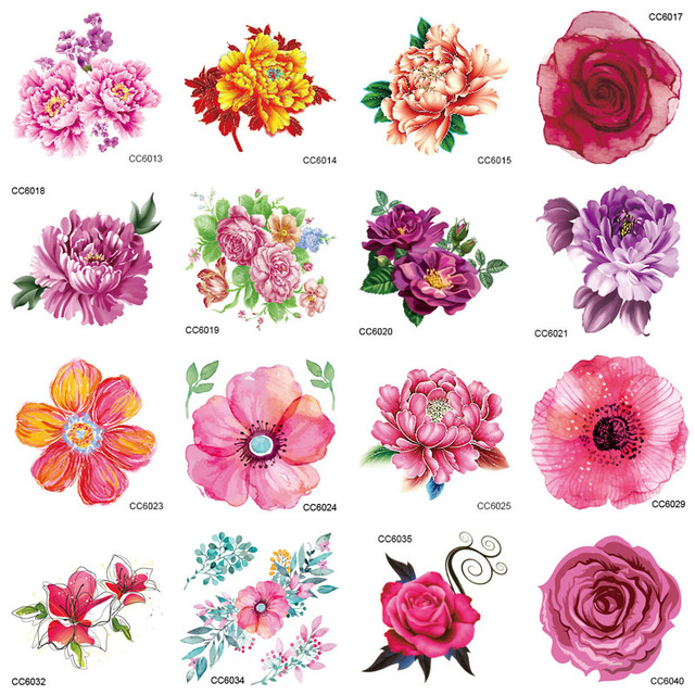 CCFlowers 6X6cm Little Color Flowers Floral Peony Designer Temporary Tattoo Sticker Body Art Water Transfer Fake Taty For Face