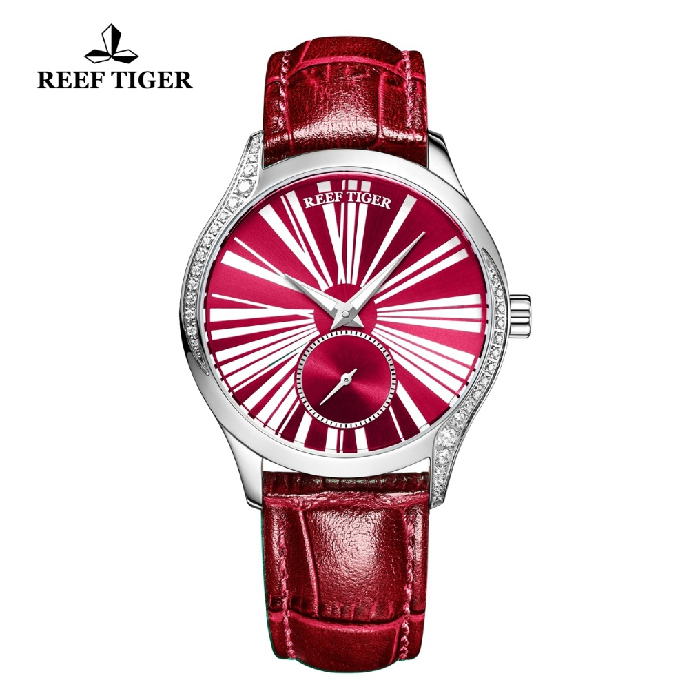 Reef Tiger/RT Luxury Fashion Watches Women Roman Numeral Red Watch Genuine Leather Strap Automatic Watches reloj mujer RGA1561 все цены
