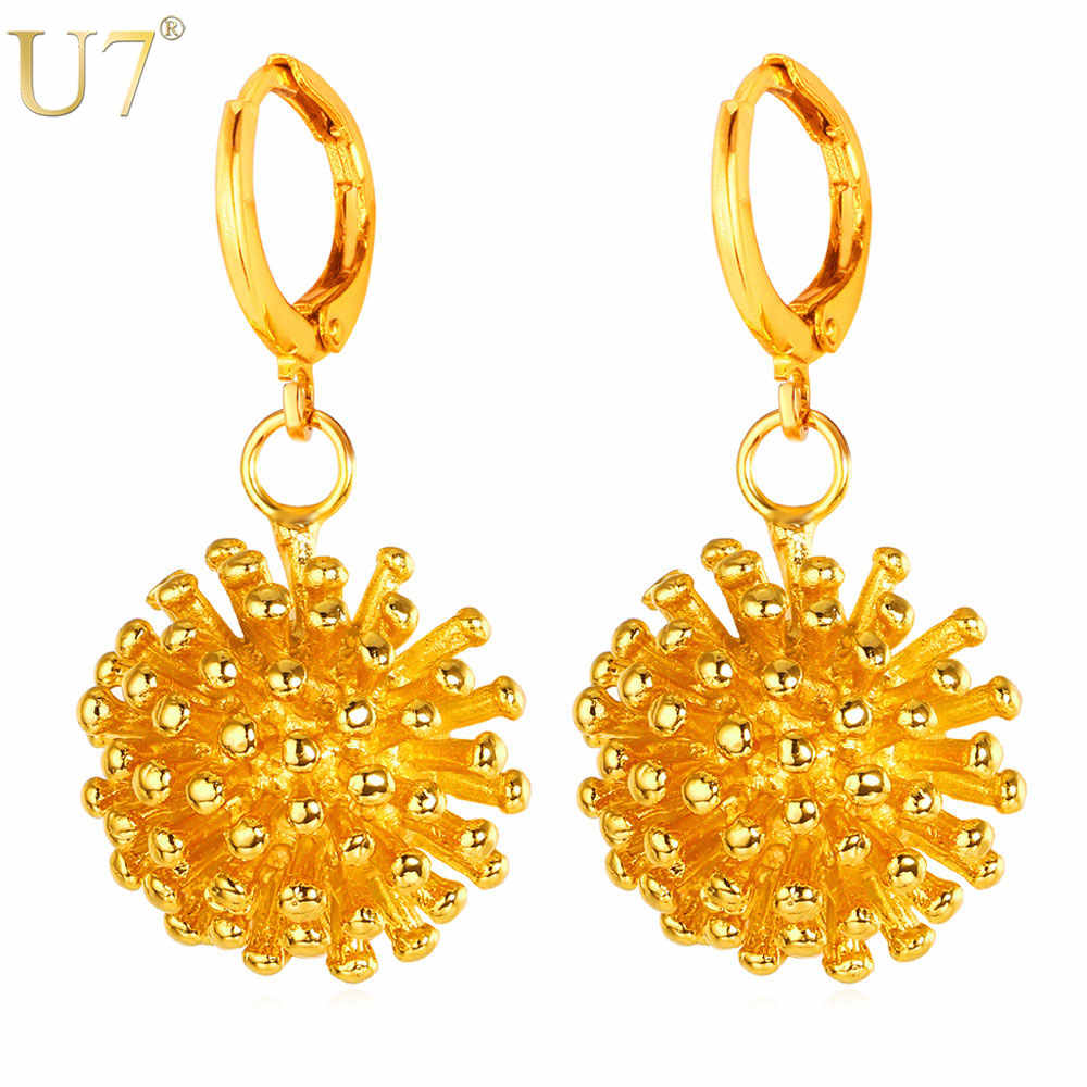 U7 Earrings For Women Wholesale Fashion Jewelry For Women Gold/Silver Color Round Ball Shape Drop Earrings E717