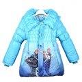 2016 Meninas de Inverno Casaco de Manga Longa Casaco Outwear Algodão Paddad Com Hooide Congelado Snow Queen Crianças Moda Outerwear Crianças