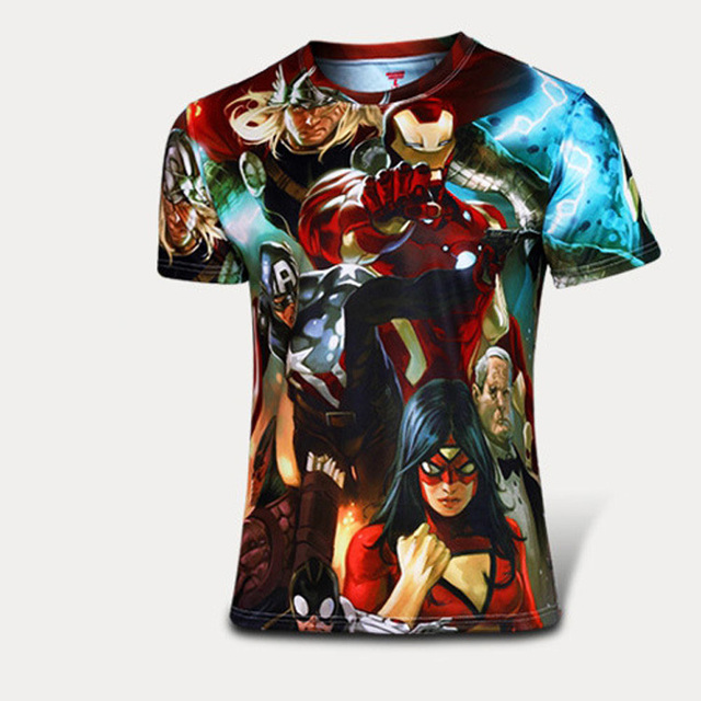 2016 marvel top tee verão estilo respirável super hero t camisa camisetas mangas curtas o pescoço t-shirt de impressão dos homens quick dry