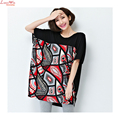 Wide Bust Patchwork Simple Casual Vintage Batwing-sleeved T-shirts Plus Size Summer Women Shirt Loose Tops