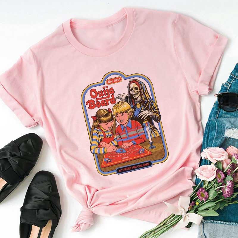 90s Vintage T Shirt Women Korean Kpop Fashion Casual Tshirt 80s Tumblr Print My First Ouija Board Short Sleeve T-shirt Female