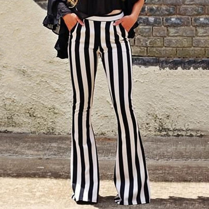 Striped   Wide     Leg     Pant   For Women Elastic High Waist Large Size Long Trouser Autumn Female Fashion Flare   Pants   OL Clothes
