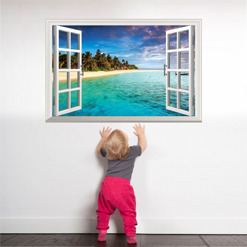 [SHIJUEHEZI] Beach Island Window Scenery 3D Wall Sticker PVC Material Wall Posters para sala de estar dormitorio decoración de la casa