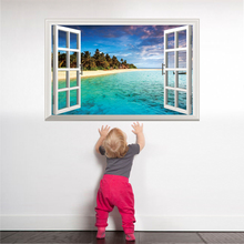 SHIJUEHEZI Beach Island Window Scenery 3D Wall Sticker PVC Material Wall Posters for Living Room Bedroom House Decoration