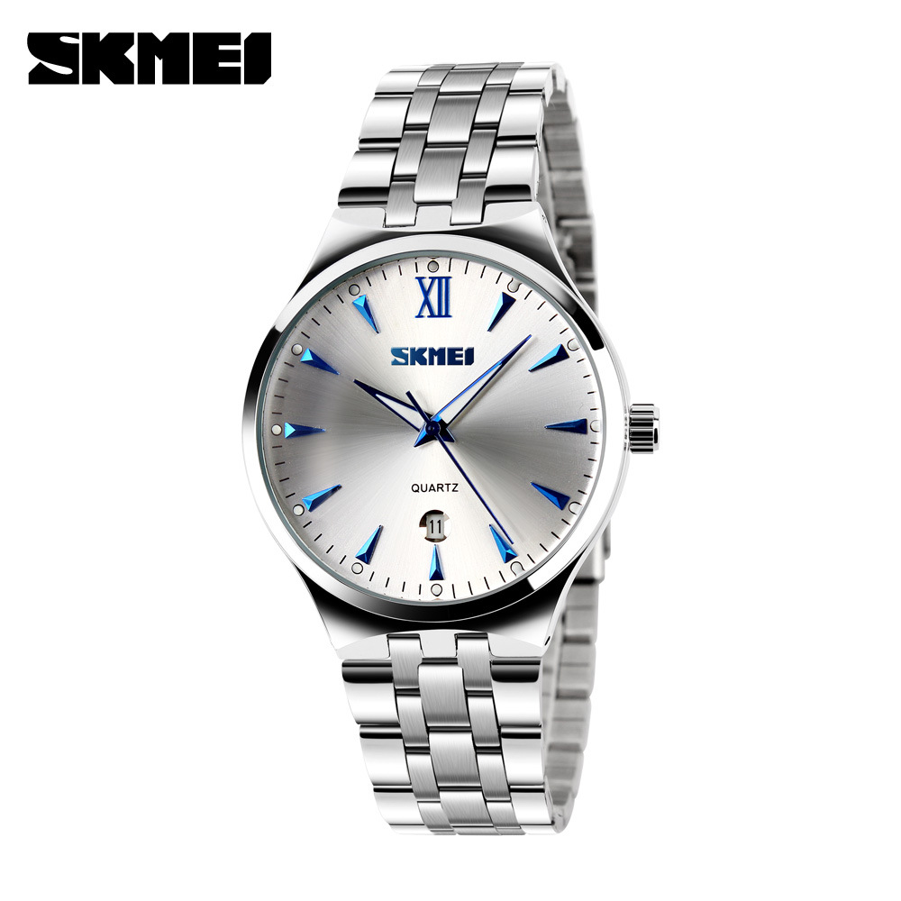 SKMEI Men Women Stainless Steel Quartz Wristwatches Calendar Fashion Lovers Watch Waterproof Sport Watches Relogio Masculino skmei lovers quartz watches luxury men women fashion casual watch 30m waterproof simple ultra thin design wristwatches 1181