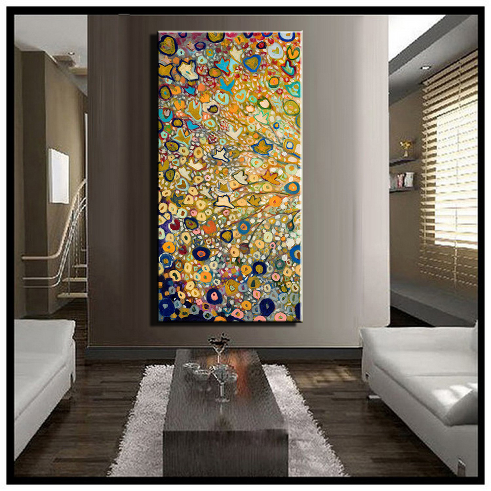 Large single abstract flower cheap huge vertical oil for Big wall art