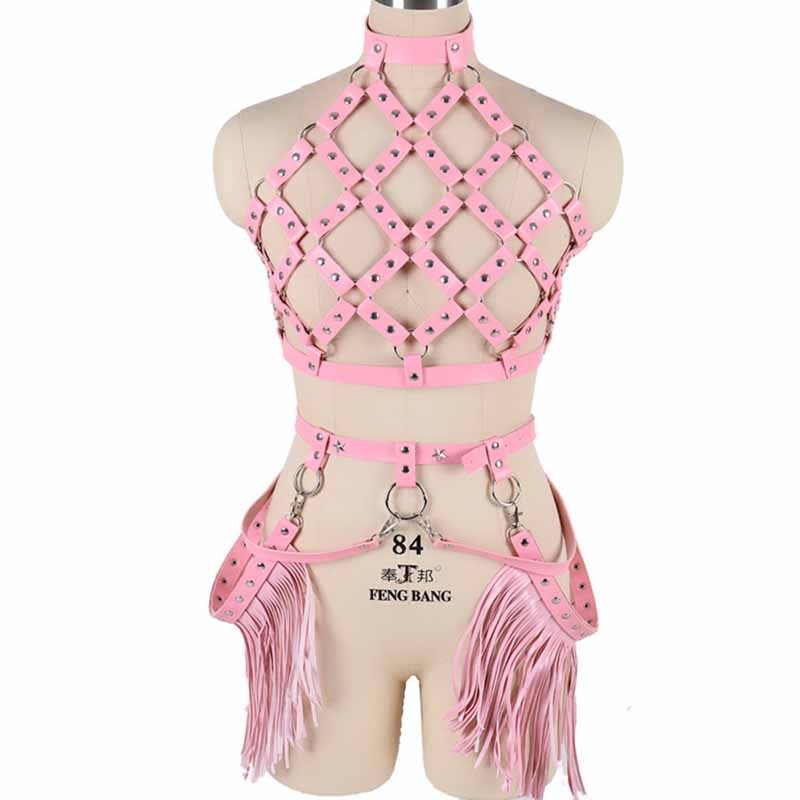 Women/'s PVC Leather Tank Top Bustier Corset Body Chain Harness Tassel Chest Belt
