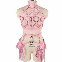 Women Waist Harness Leather Belt Metal Chain Body Tassel Punk Festival Dance Rave Costumes